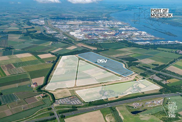 Het Logistiek Park Moerdijk in de oksel van de A17/A16 bestaat uit vier fasen. Deel 1 komt volledig in gebruik bij DSV Solutions. De nieuwe vestiging moet in 2023 in bedrijf komen.