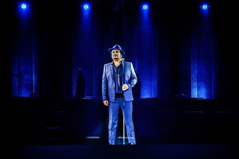 Een hologram van André Hazes tijdens het jubileumconcert van Holland Zingt Hazes in de Amsterdamse Ziggo Dome. Beeld ANP Kippa