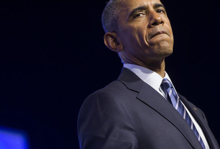 De Amerikaanse president Barack Obama. Na de nucleaire deal met Iran gaf hij een 45 minuten durend interview met New York Times-columnist Thomas L. Friedman. Beeld AFP