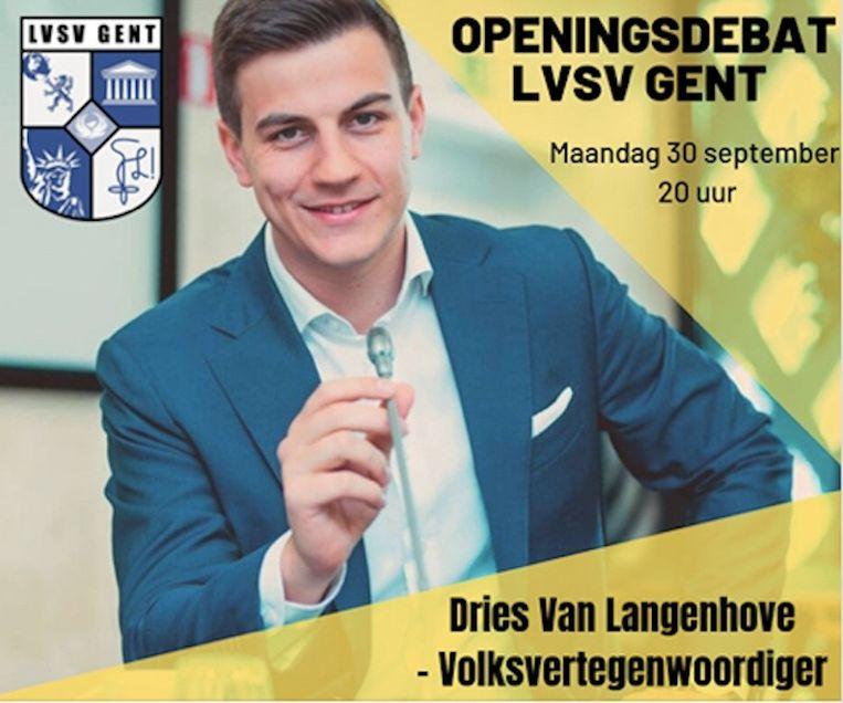 Ook in de gebouwen van de UGent wou LVSV een debat met Dries van Langenhove organiseren. Beeld Facebook/LVSV Gent