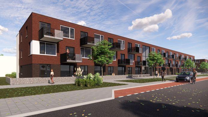 Zo gaan de nieuwe appartementen aan Thomas de Keijserstraat er uitzien.