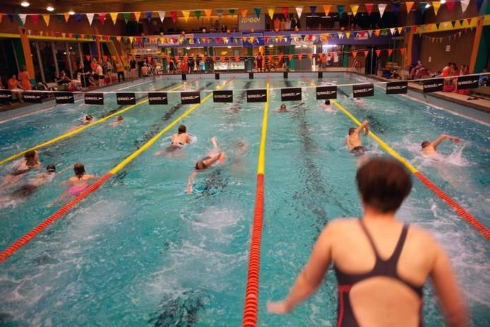Volop actie voor het goede doel in zwembad 't Gastland. foto Vincent Doelman