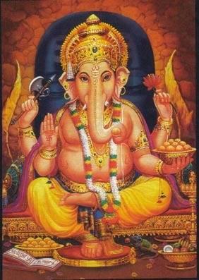 Een afbeelding van de hindoegod Ganesha