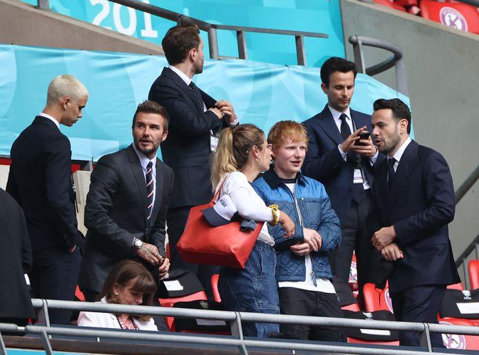Ed Sheeran en Cherry tijdens de match van Engeland drie dagen geleden.