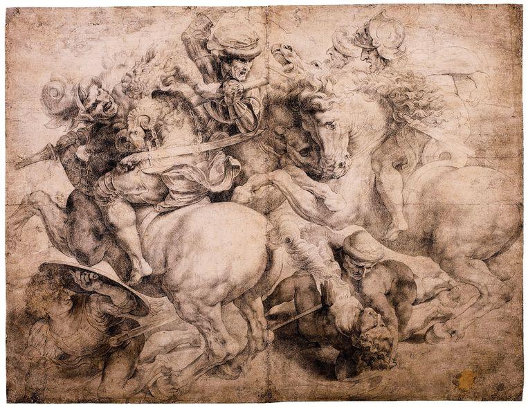 Een voorstudie van Rubens' schilderij 'De kruisoprichting'.  Beeld Sotheby's