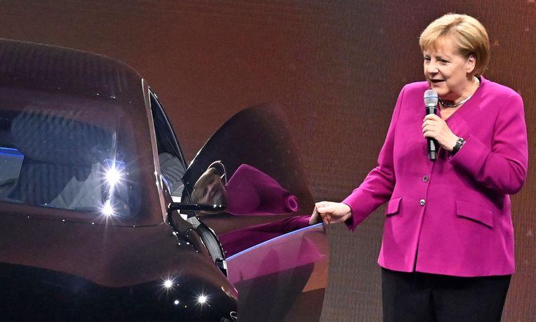 Bondskanselier Angela Merkel in 2019, na de opening van de International Auto Show in Frankfurt. Beeld AFP