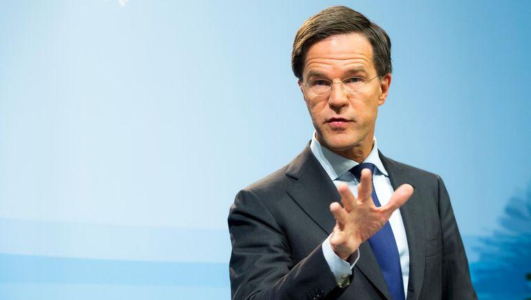 Rutte: 'Met de komst van grote groepen vluchtelingen rijst de vraag: blijft Nederland Nederland?' Beeld anp