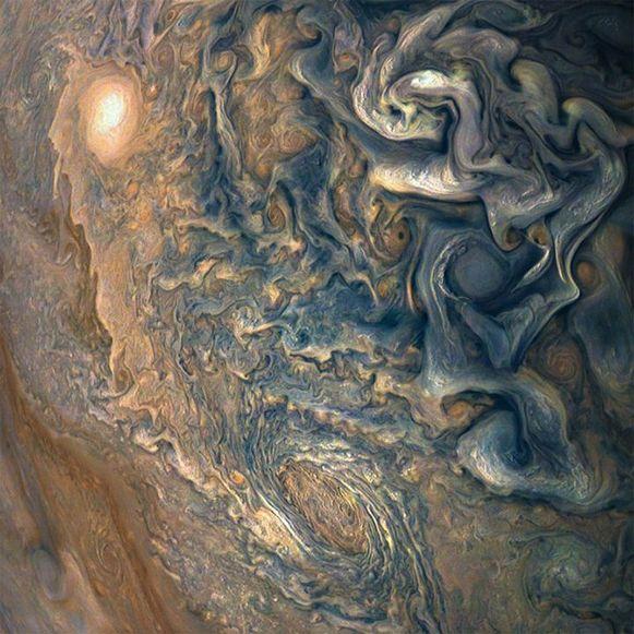 De planeet Jupiter, vastgelegd op de gevoelige plaat door de ruimtesonde Juno.