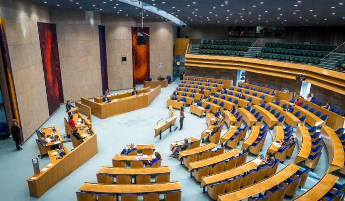 Overzicht van de Tweede Kamer tijdens een debat over de ontwikkelingen rondom het coronavirus.