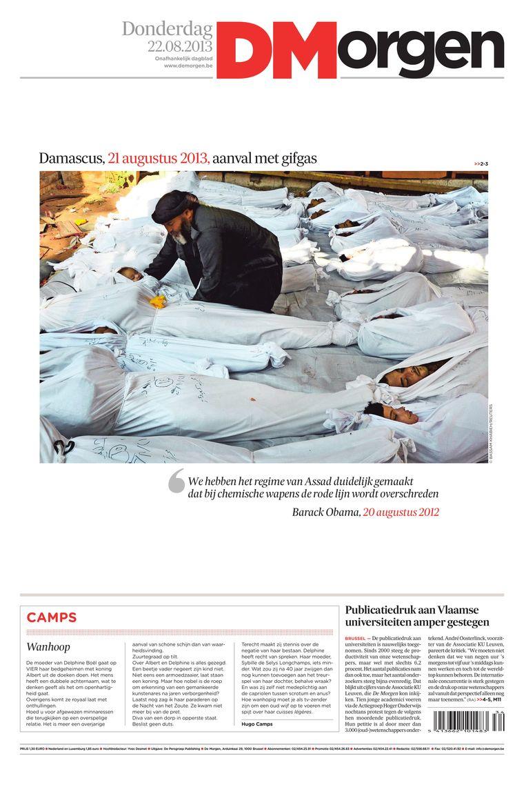 Een aanval met gifgas in het Syrische Damascus overschrijdt de rode lijn van Amerikaans president Barack Obama. Beeld dm