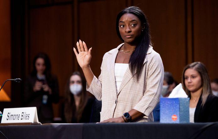Simone Biles tijdens de rechtszaak tegen Larry Nassar.