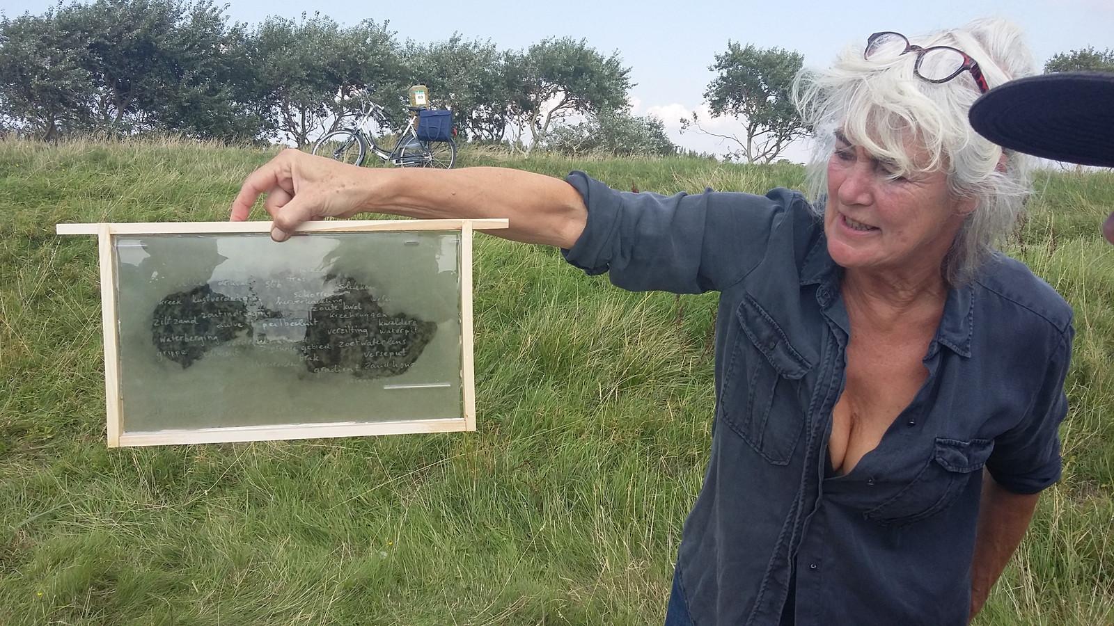 Eén van de bladzijden (of ramen) uit het grote kunstboek dat Marjolijn maakte van een bijenkast. Het zilte eiland uitgedrukt in zoet.