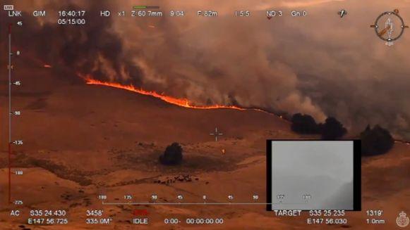 Een bosbrand in Ellerslie, New South Wales.