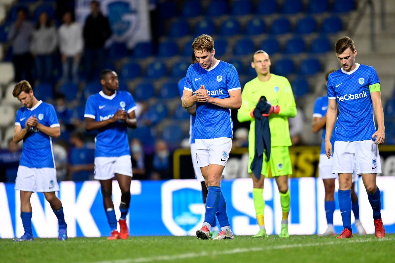 GENK, BELGIUM - AUGUST 3 : Team captain Bryan Heynen midfielder of KRC Genk and Kristian Thorstvedt midfielder of KRC Genk looking dejected on the final whistle after the defeat during the UEFA Champions League, Third qualifying round match between KRC Genk and FC Shakhtar Donetsk at the KRC Genk Arena stadium on August 03, 2021 in Genk, Belgium, 3/08/2021 ( Photo by Nico Vereecken / Photo News