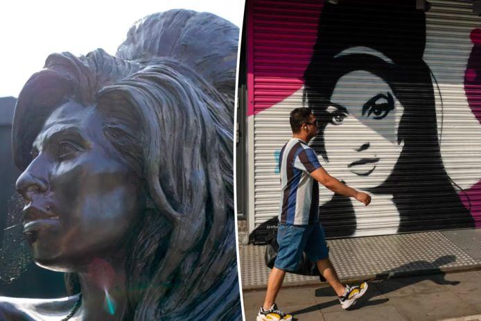 Foto links: het standbeeld van Amy Winehouse in het Londense stadsdeel Camden. Foto rechts: in dezelfde wijk sieren deze winkelrolluiken haar beeltenis.