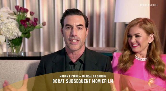 Sacha Baron Cohen en zijn echtgenote Isla Fisher tijdens de virtuele Golden Globes?