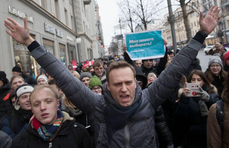 Aleksej Navalny tijdens een demonstratie in januari 2018. Beeld AP