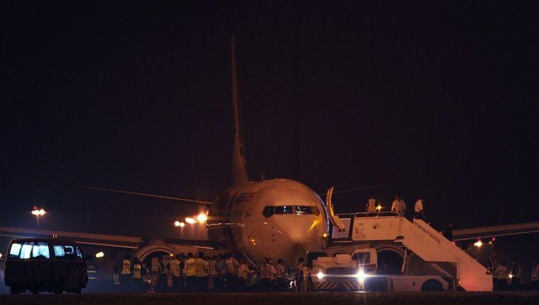 Malaysia Airlines Boeing 737-800, vlucht MH192, na de noodlanding. Beeld afp