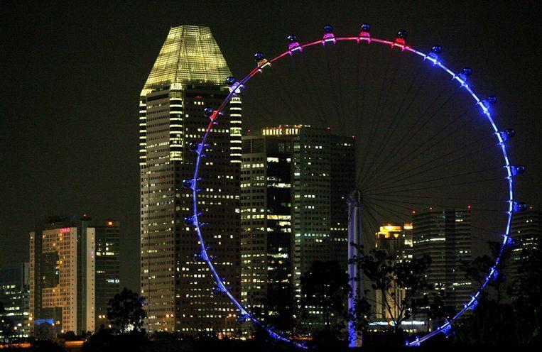Het reuzenrad Singapore Flyer werd in 2008 geopend en staat op nummer 2 als het hoogste reuzenrad ter wereld. Beeld How Hwee Young