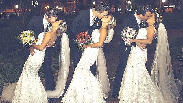 Slechts aan de kleur van hun bruidsboeket kon je de drie bruiden uit elkaar houden: geel voor Rafaela, rood voor Tagiane en blauw voor Rochele.