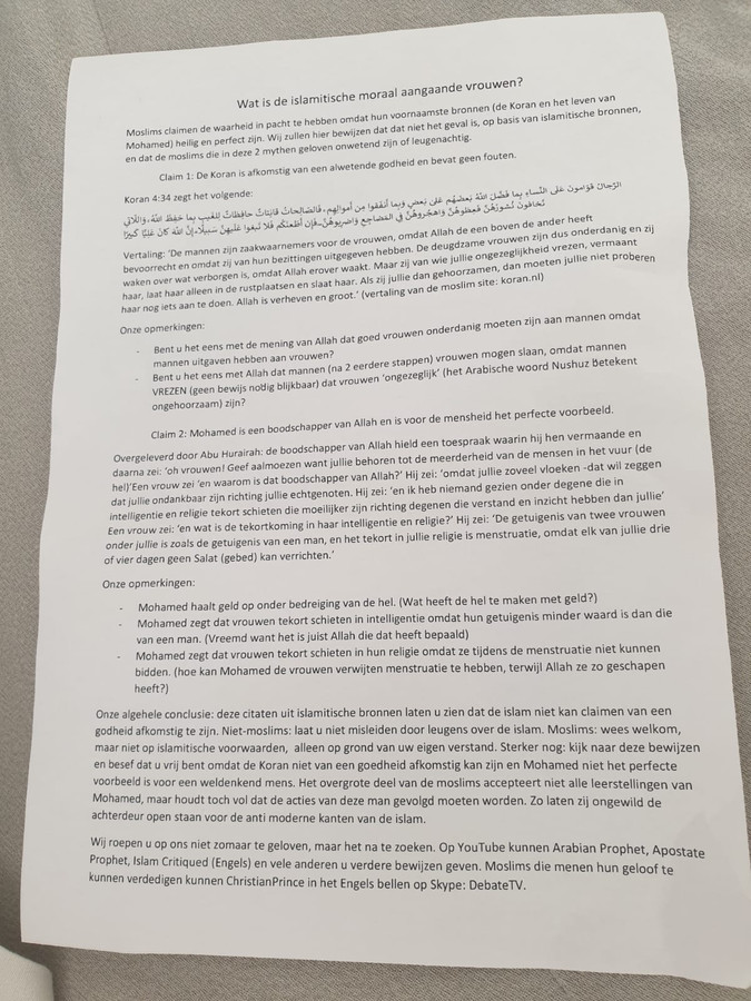 Leidschendammers ontvangen brieven over gevaren van Islam in Brievenbus