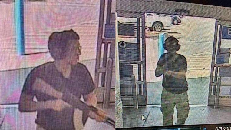 Beelden van het moment dat El Paso-schutter Patrick Crusius de Walmart binnenkomt waar hij een bloedbad zal aanrichten.  Beeld AFP
