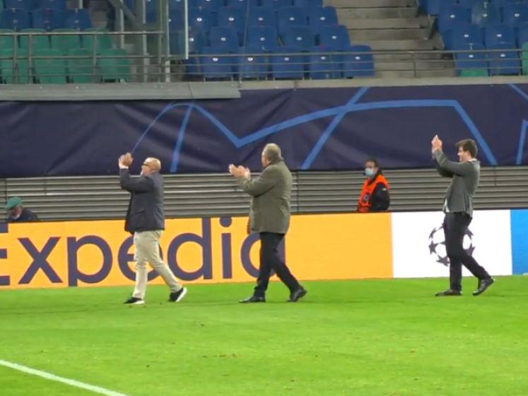Club-voorzitter Verhaeghe groet fans na overwinning tegen RB Leipzig