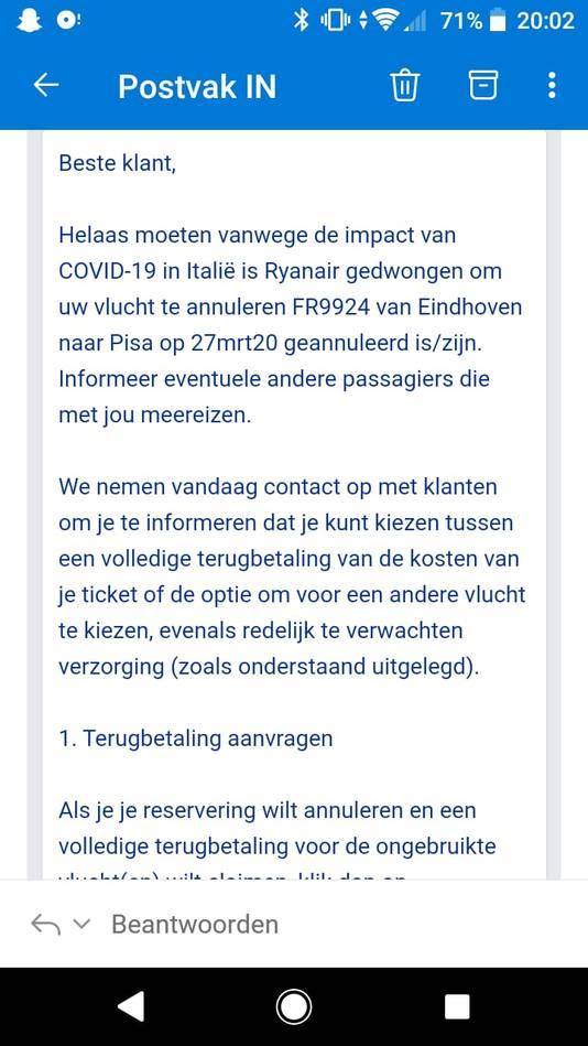 Ryanair cancelt vluchten van en naar Italië vanwege het coronavirus.