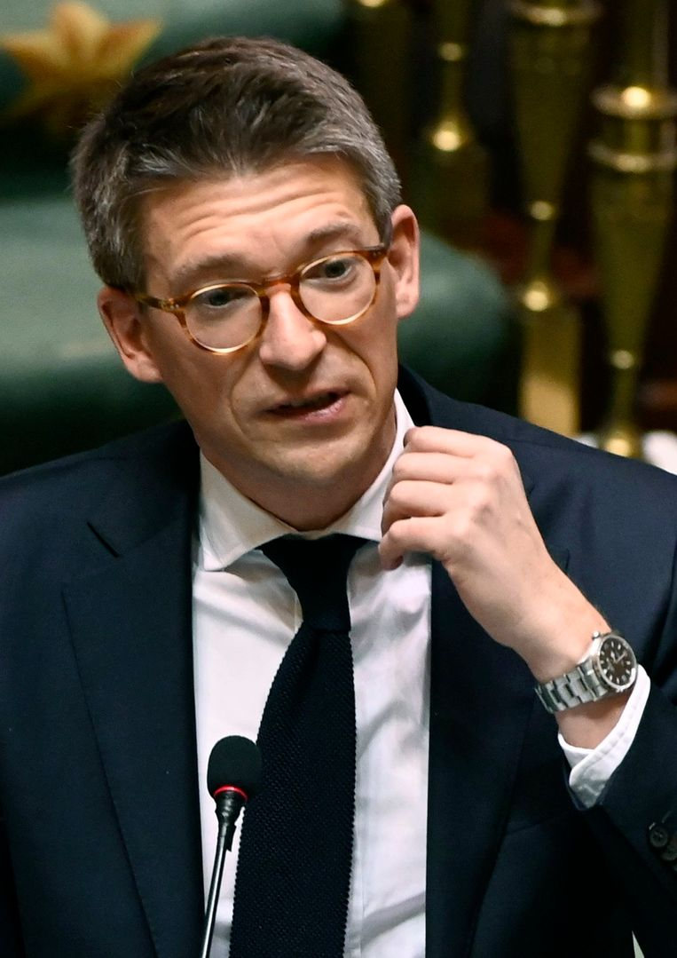 Minister van Economie en Werk Pierre-Yves Dermagne spreekt in het federale parlement. Beeld Photo News