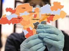 KAART | Plotse stijging positieve tests in Nijmegen, vier inwoners Utrechtse Heuvelrug overlijden door corona