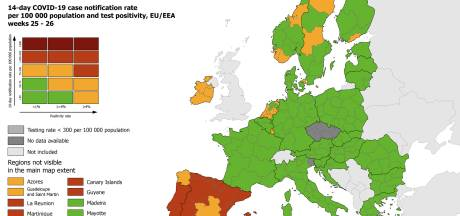 Le Portugal vire intégralement au rouge, l'Espagne quasiment