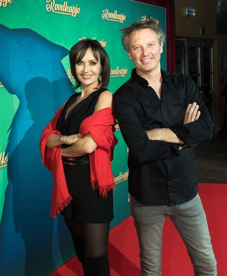 Chris Van Tongelen en Brigitte Derks op de première van de musical 'Roodkapje', waar ze samen aan werkten.