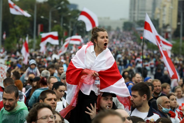 Demonstratie in september 2020 in Minsk tegen de Wit-Russische president Loekasjenko. Beeld AP