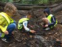 Het bouwen van een dam in het Oerbos in Oisterwijk, uitstapje tijdens Kindervakantieweek Berkel-Enschot.