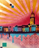 Wij hebben een mooie graffiti laten maken door Egbert EGD. De Deventer kunstenaar maakt de skyline, een supermooi kunststukje in onze hal!