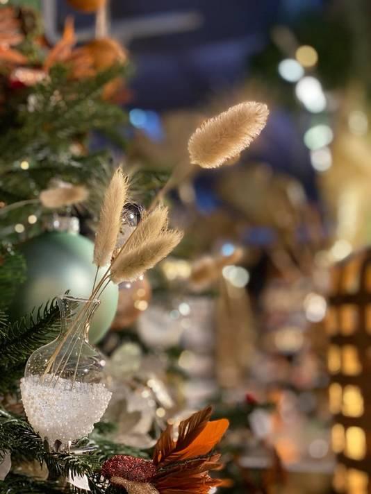 Droogbloemen in een kerstbal.