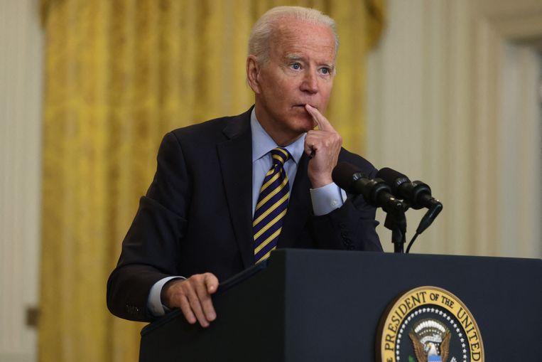 President Joe Biden licht het vertrek uit Afghanistan toe. Beeld Hollandse Hoogte