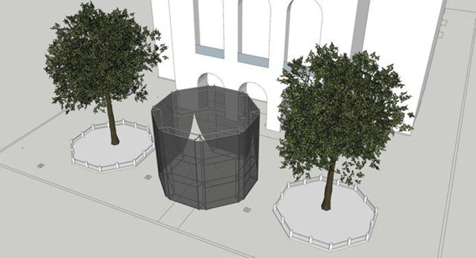Dit paviljoen moet vanaf donderdag te zien zijn aan de Stadsschouwburg.