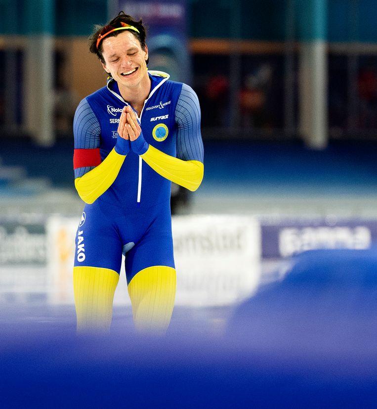 Nils van der Poel heeft het wereldrecord op de 10.000 meter op 12.32,95 gezet.  Beeld Klaas Jan van der Weij / de Volkskrant