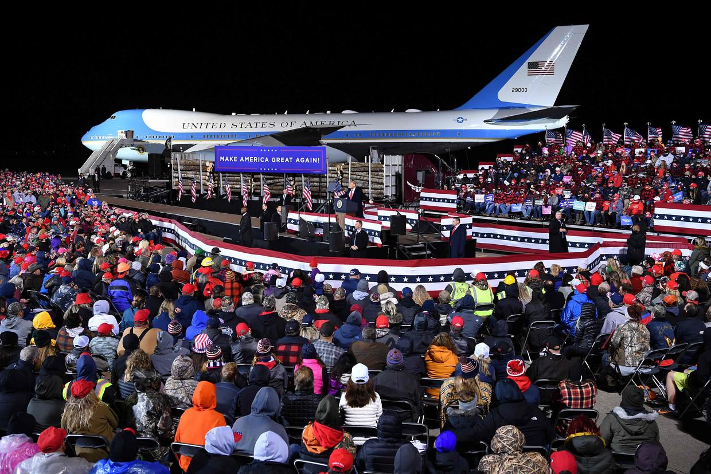 Voorlopig voor het laatst: Trump spreekt zijn aanhang toe in Duluth, Minnesota, op 30 september. Beeld AFP