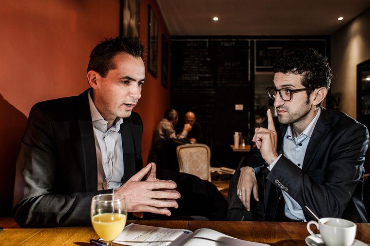 Lorin Parys (N-VA) en Mohamed Ridouani (sp.a). Beeld Bob Van Mol