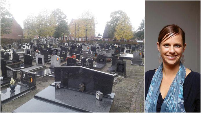 Op de Grobbendonkse kerkhoven zijn de plaatsjes beperkt om nieuwe grafmonumenten te plaatsen. RECHTS: burgemeester Marianne Verhaert (GiB).