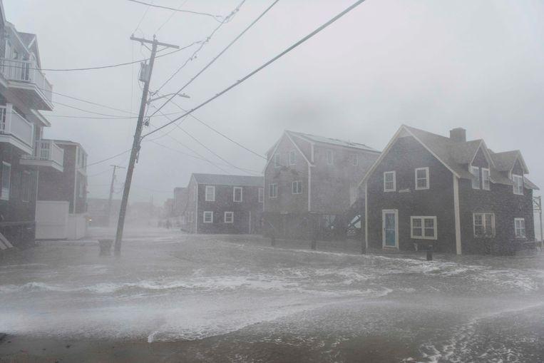 Stormweer aan de kuststreek in New England. Beeld AFP