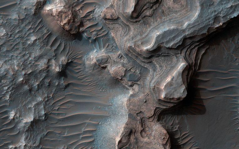 Uzboi Vallis. In deze vallei op Mars lag ooit een meer. Beeld NASA