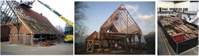 De vakwerkboerderij aan de Beerninksweg in Overdinkel werd in 2009 gedemonteerd en zorgvuldig opgeslagen.