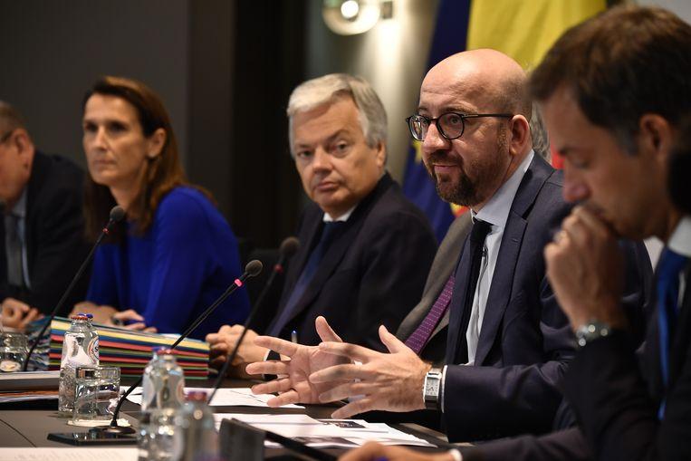 Presentatie van de begroting door onder anderen Sophie Wilmès, Didier Reynders, Charles Michel en Aleander De Croo. Beeld BELGA