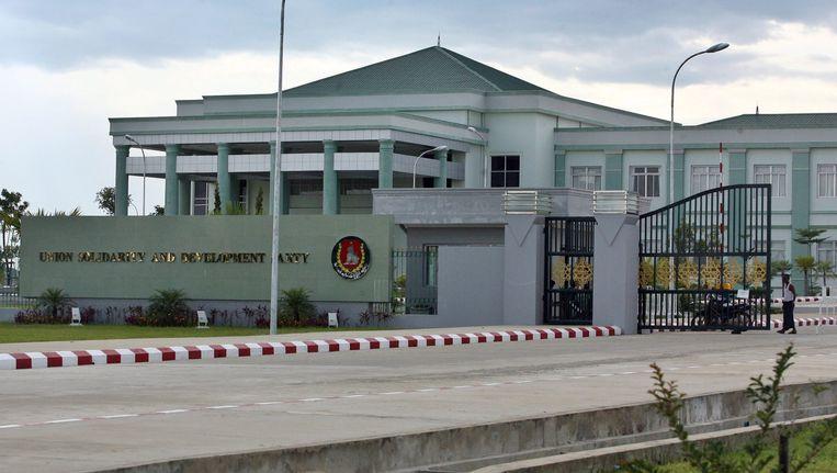 Het gebouw van regeringspartij Unie, Solidariteit en Ontwikkeling in Myanmar. (Archiefbeeld)
