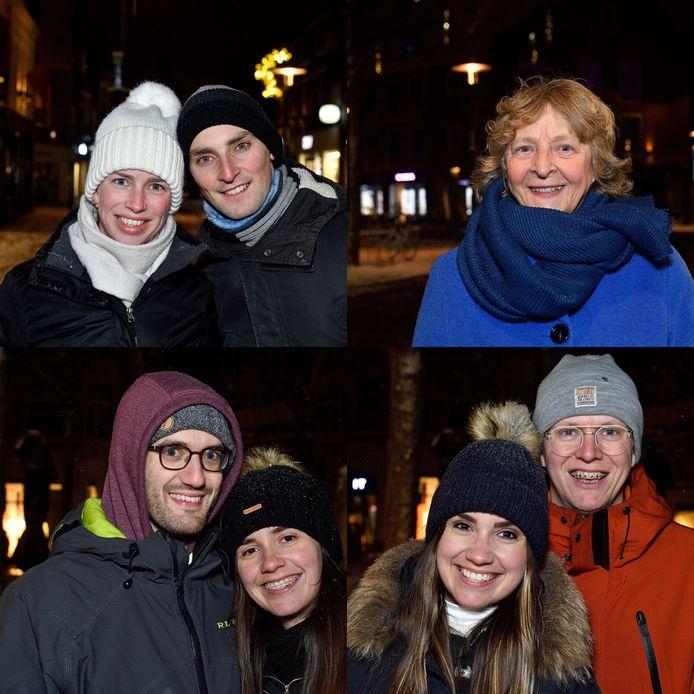 Amersfoorters vertellen wat ze vinden van een mogelijke avondklok. Vanaf linksboven met de klok mee: Aviv en Marjan, Marian, Benjamin en Merel, Merels tweelingzus Roos en Guus.
