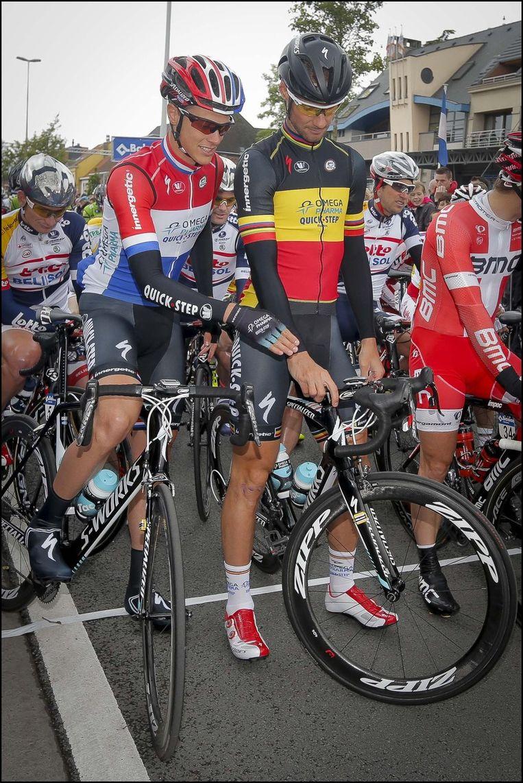 Niki Terpstra en Tom Boonen aan de start. Beeld PHOTO_NEWS