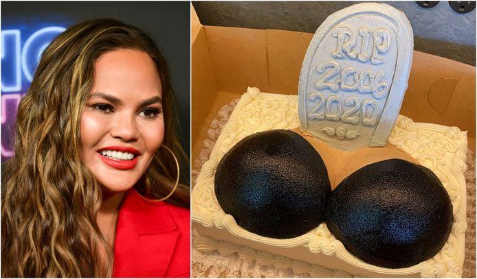 Chrissy Teigen s'est fait enlever ses implants mammaires et a fêté cela avec un gâteau.